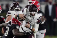 Georgia linebacker Azeez Ojulari (13) and a teammate sack Mississippi State quarterback Will Rogers (2) during the second half of an NCAA college football game Saturday, Nov. 21, 2020, in Athens, Ga. (AP Photo/Brynn Anderson)