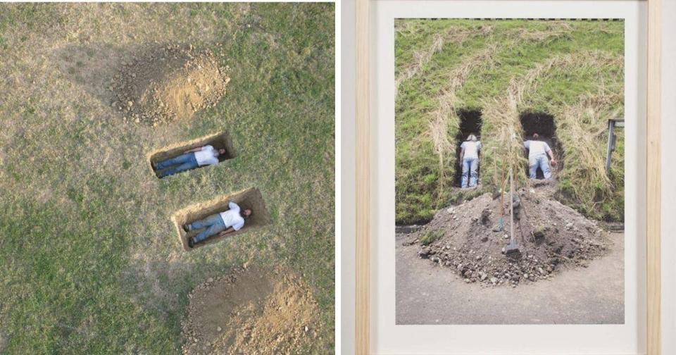 """The two art pieces are titled, """"Untitled (Graves)"""" and """"Untitled 1 (Grave, Basel, Switzerland) 2008."""" (Photos courtesy of Western Exhibitions website)"""