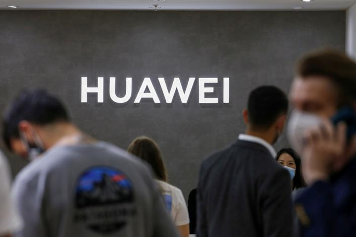 The Huawei logo is seen at the IFA consumer technology fair, amid the coronavirus disease (COVID-19) outbreak, in Berlin, Germany September 3, 2020.  (Michele Tantussi/Reuters)