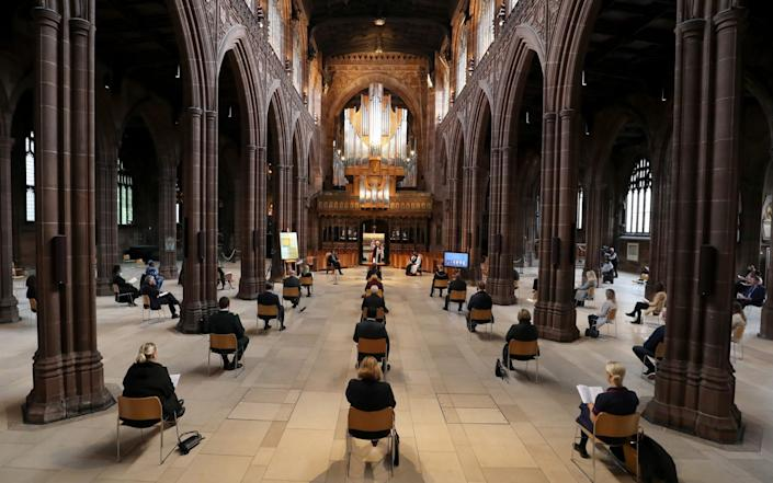 A a memorial service for the victims of coronavirus at Manchester Cathedral - Getty