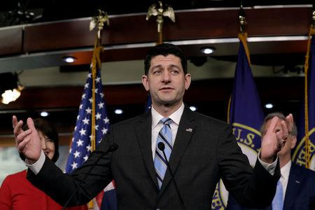 House Speaker Paul Ryan (R-WI) speaks at a news conference with Republican leaders after a closed conference on Capitol Hill in Washington, U.S., February 14, 2018. REUTERS/Yuri Gripas