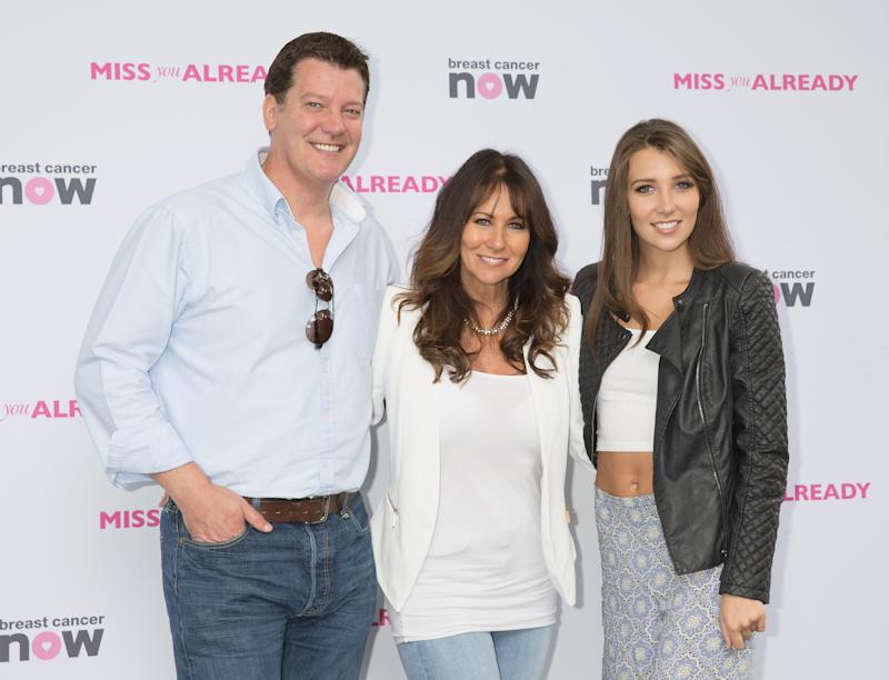 LONDON, ENGLAND - AUGUST 16: (L-R) Samuel Kane,Linda Lusardi and Lucy Anne Lusardi arrives at Miss You Already Pink Picnic at Manchester Square Gardens on August 16, 2015 in London, England. (Photo by Dave J Hogan/Getty Images)