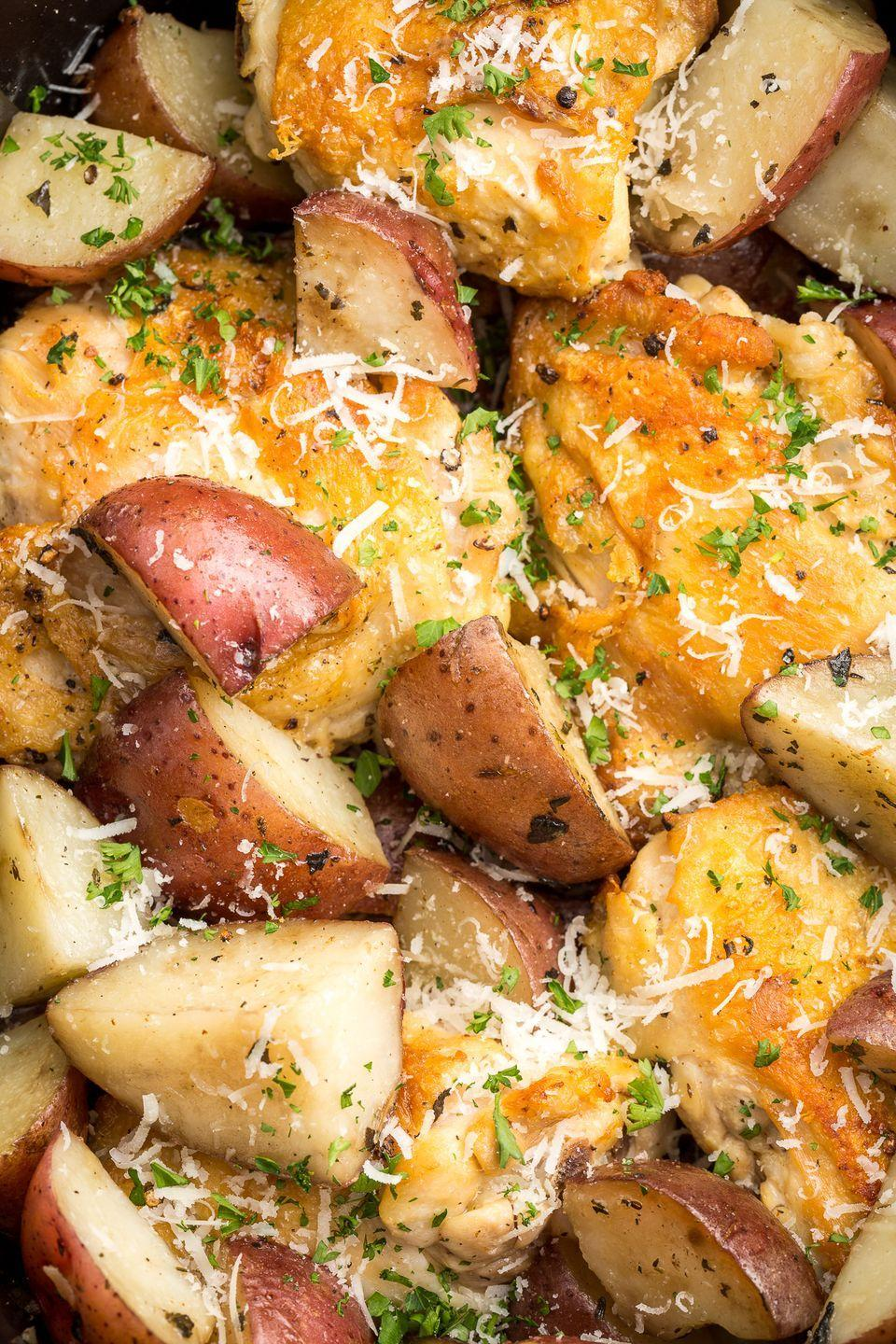 """<p>This recipe is taking over Pinterest. Try it yourself to find out why!</p><p>Get the recipe from <a href=""""https://www.delish.com/cooking/recipe-ideas/recipes/a46066/slow-cooker-garlic-parmesan-chicken-recipe/"""" rel=""""nofollow noopener"""" target=""""_blank"""" data-ylk=""""slk:Delish"""" class=""""link rapid-noclick-resp"""">Delish</a>.</p>"""
