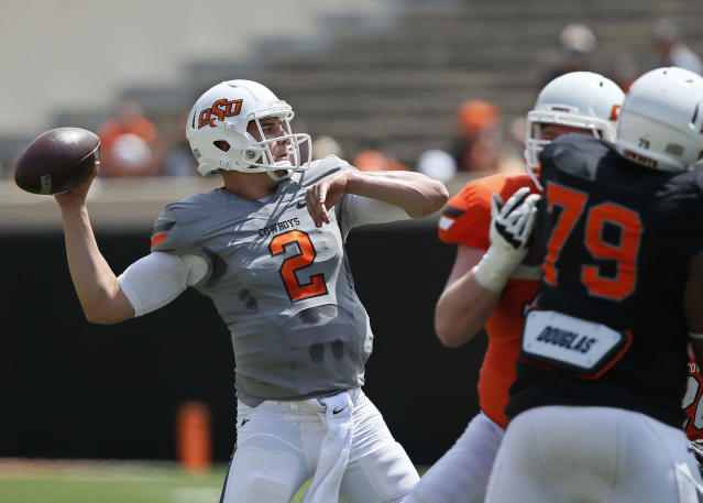 <p>On the rise: Mason Rudolph, Oklahoma State — Here's the guy who will put up the best numbers in the Big 12. Rudolph has James Washington and Jalen McCleskey to throw to and a rushing offense that made big strides from 2015 thanks to RB Justice Hill. Oklahoma State could be the Big 12 favorite and Rudolph could get to the Heisman ceremony if the Cowboys are in the playoff conversation. (Photo credit: AP) </p>