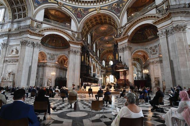 A view of guests during the NHS service of commemoration and thanksgiving to mark the 73rd birthday of the NHS at St Paul's Cathedral, London