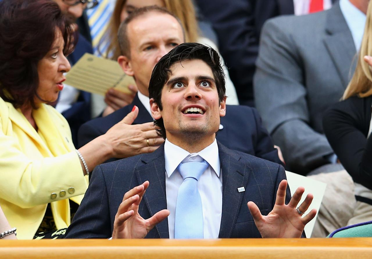 LONDON, ENGLAND - JUNE 28: England cricket captain Alastair Cook chats as he enters the Royal Box on Centre Court on day five of the Wimbledon Lawn Tennis Championships at the All England Lawn Tennis and Croquet Club on June 28, 2013 in London, England. (Photo by Julian Finney/Getty Images)