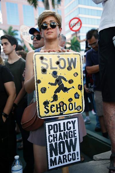 A protester at the gun control rally in Fort Lauderdale, Florida. Marco refers to US Senator Marco Rubio of Florida, who has received millions in political help from pro-gun groups (AFP Photo/RHONA WISE)