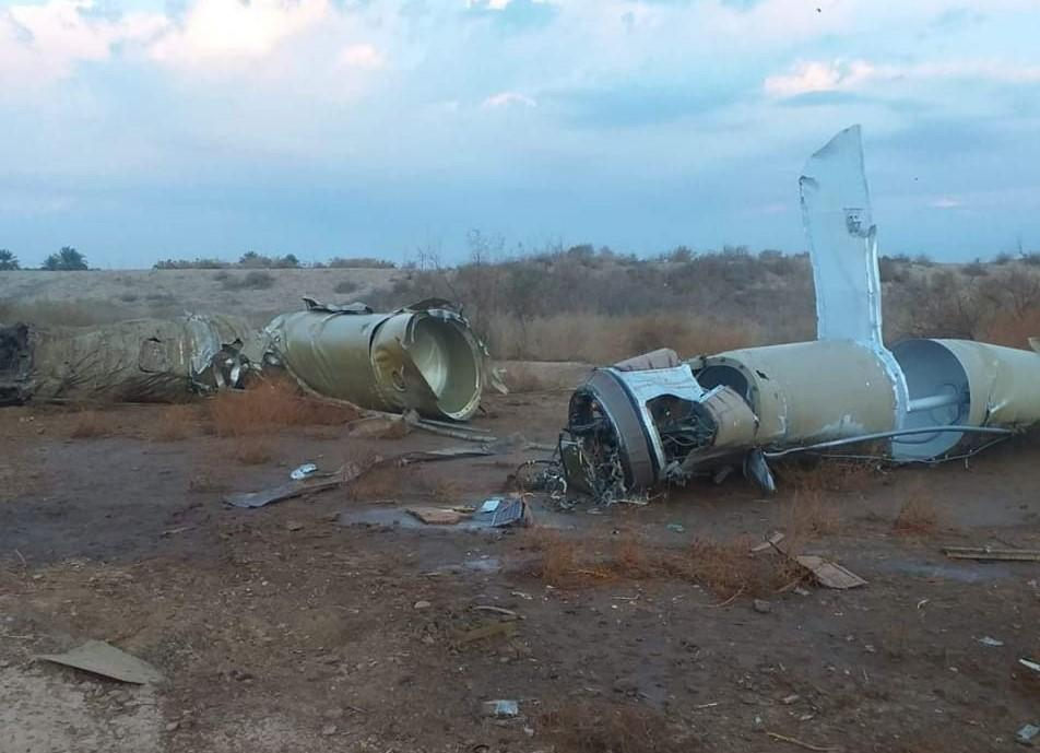 Pieces of missiles are seen at the rural area of Al-Baghdadi town after Iran targeted Ain al-Asad airbase in Iraq. (Getty)