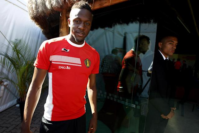 Belgium's Divock Origi arrives for a press coference, in Mogi Das Cruzes, Brazil, Friday, June 13, 2014. Belgium play in group H of the 2014 soccer World Cup. (AP Photo/Andrew Medichini)