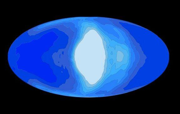 This illustration shows simulated cloud coverage (white) on a tidally locked planet (blue) that would be orbiting a red dwarf star.