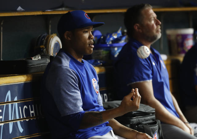 "<a class=""link rapid-noclick-resp"" href=""/mlb/players/9604/"" data-ylk=""slk:Addison Russell"">Addison Russell</a>'s ex-wife says she wasn't ready to speak about his alleged abuse when she was approached in 2017. (AP Photo)"