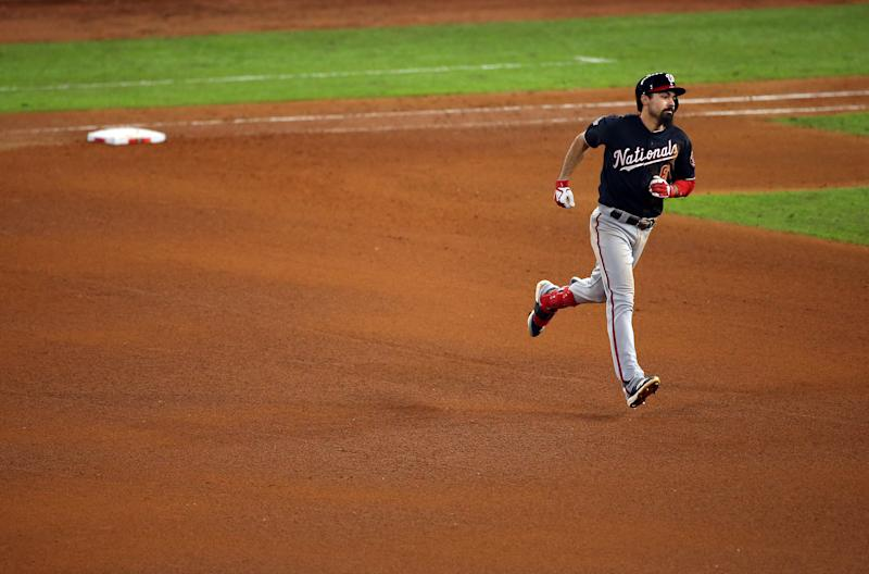 HOUSTON, TX - OCTOBER 30: Anthony Rendon #6 of the Washington Nationals rounds the bases after hitting a home run in the seventh inning of Game 7 of the 2019 World Series between the Washington Nationals and the Houston Astros at Minute Maid Park on Wednesday, October 30, 2019 in Houston, Texas. (Photo by Cooper Neill/MLB Photos via Getty Images)