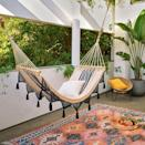 """<p>Hear us out: Instead of selecting a daybed for your living room or home office, opt for its more carefree cousin, an indoor hammock. In lieu of setting one up between two trees in your backyard, hang it (safely) in any nook of your home for a statement piece that's as bold as it is comfortable. Take it a step further with some <a href=""""https://www.elledecor.com/shopping/home-accessories/advice/g942/best-throw-pillows/"""" rel=""""nofollow noopener"""" target=""""_blank"""" data-ylk=""""slk:decorative pillows"""" class=""""link rapid-noclick-resp"""">decorative pillows</a>, a furry <a href=""""https://www.elledecor.com/shopping/g28410268/cozy-throw-blankets/"""" rel=""""nofollow noopener"""" target=""""_blank"""" data-ylk=""""slk:throw blanket"""" class=""""link rapid-noclick-resp"""">throw blanket</a>, a small <a href=""""https://www.elledecor.com/shopping/furniture/g1322/the-top-10-occasional-tables/"""" rel=""""nofollow noopener"""" target=""""_blank"""" data-ylk=""""slk:side table"""" class=""""link rapid-noclick-resp"""">side table</a>, and you've got one stylish corner to cuddle up in. From hippie-chic macramé to luxurious leather, we've rounded up the 10 best indoor hammocks for you to relax in right now.</p>"""