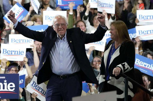 PHOTO: Democratic presidential hopeful Vermont Senator Bernie Sanders accompagnied by his wife Jane O'Meara Sanders arrives during a 2020 Super Tuesday Rally at the Champlain Valley Expo in Essex Junction, Vermont March 3, 2020. (Timothy A. Clary/AFP via Getty Images)