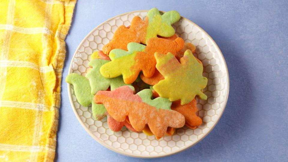 "<p>Add some cookies to your dessert assortment for those who don't like pie. These are colorful and look just like fall leaves.</p><p>Get the recipe from <a href=""https://www.delish.com/cooking/recipe-ideas/recipes/a56046/leaf-cookies-recipe/"" rel=""nofollow noopener"" target=""_blank"" data-ylk=""slk:Delish"" class=""link rapid-noclick-resp"">Delish</a>.</p>"