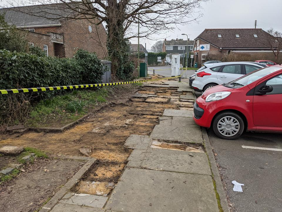 Thieves made off with the paving from a car park in a West Sussex village overnight. (SWNS)