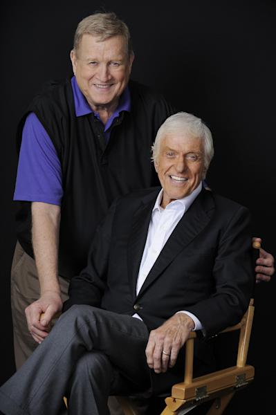FILE - In this Oct. 8, 2012 file photo, Actor Dick Van Dyke, right, poses for a portrait with Screen Actors Guild President Ken Howard, in Beverly Hills, Calif. Van Dyke is the recipient of the Life Achievement Award at the upcoming 19th Annual SAG Awards ceremony on Jan. 27, 2013. Ahead of Sunday's Screen Actors Guild Awards, Van Dyke reflects on his seven decades in show business and the legacy he will leave behind. (Photo by Chris Pizzello/Invision/AP, File)