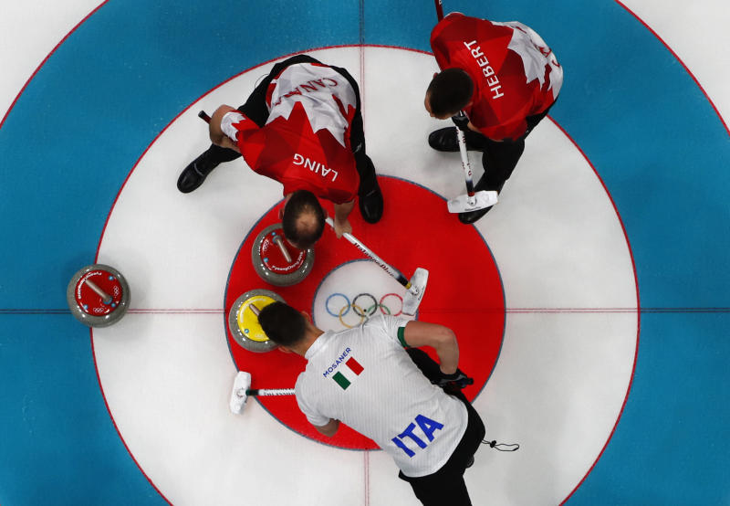 Brent Laing and teammate Ben Hebert in the Canada vs. Italy in curling competition on Wednesday. (Cathal McNaughton / Reuters)
