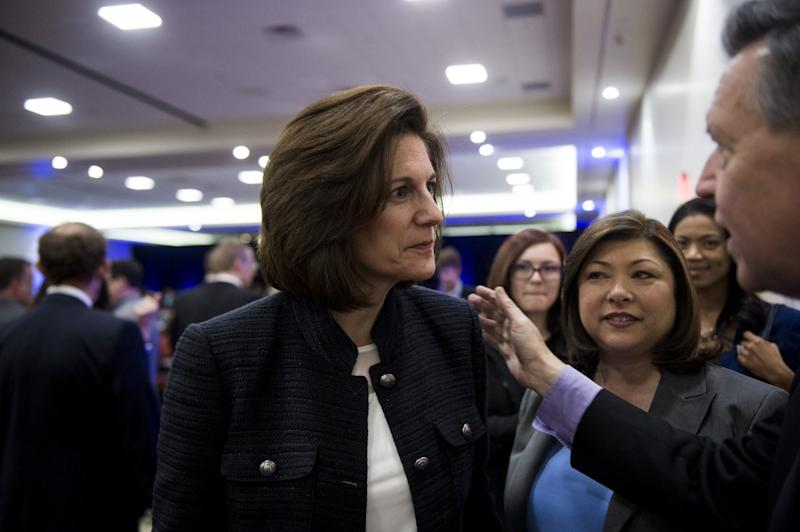 Catherine Cortez Masto, running for Minority Leader Harry Reid's Senate seat in 2016, speaks with supporters last February in Las Vegas. (Photo: Bill Clark/CQ Roll Call/Getty Images)