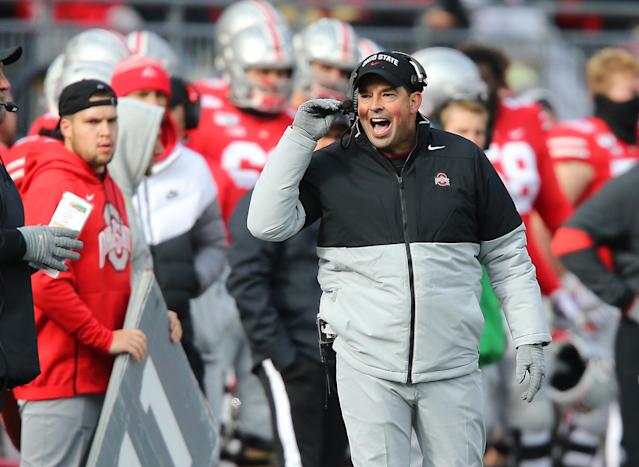 Ohio State Buckeyes head coach Ryan Day reacts during the second half against the Maryland Terrapins at Ohio Stadium. (USA Today)