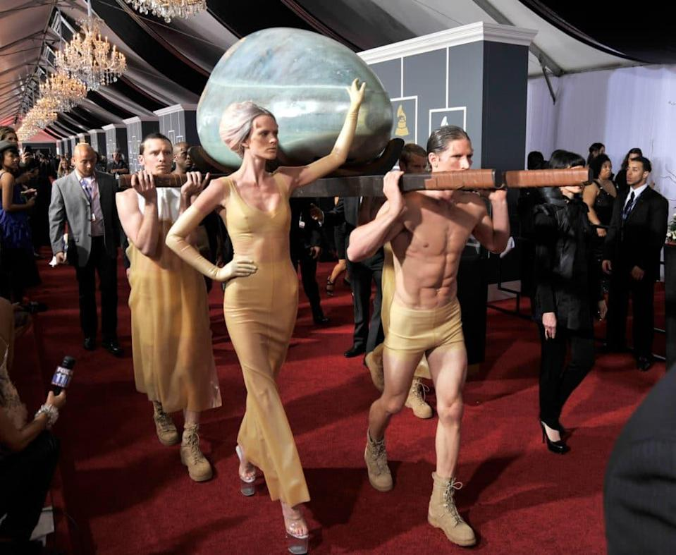 Lady Gaga arrives at The 53rd Annual GRAMMY Awards. (Kevin Mazur/WireImage)
