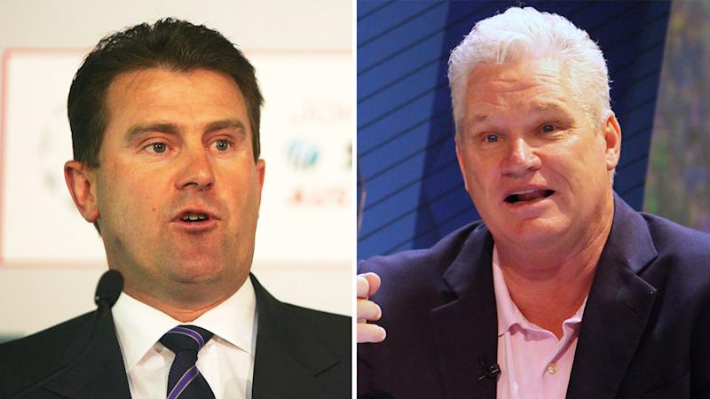 Mark Taylor (pictured left) during a media conference and Dean Jones (pictured right) talking.