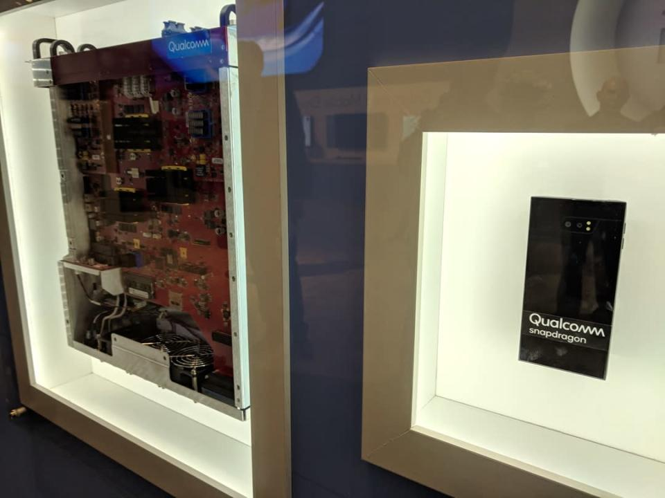 On the left is an example of Qualcomm's early 5G equipment. On the right is its smartphone chip.