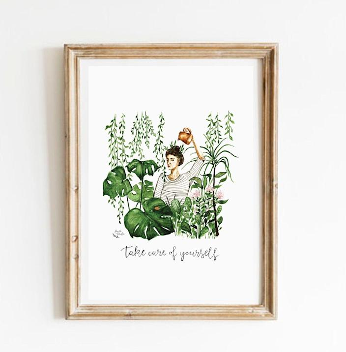 <p>If you love plants, you'll appreciate this <span>Take Care of Yourself Art Print</span> ($12).</p>