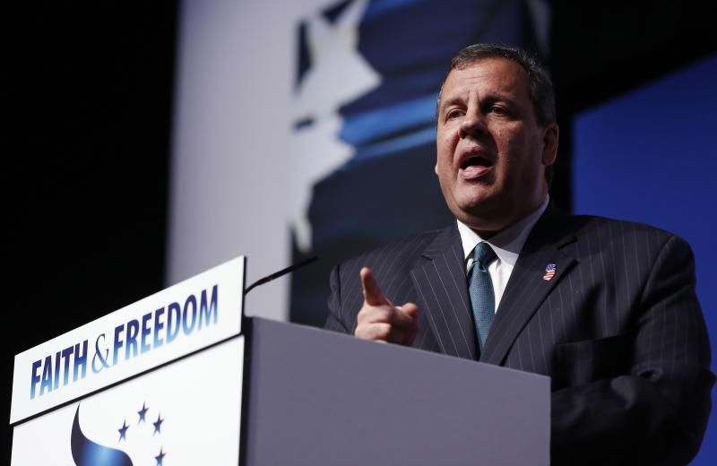 "New Jersey Governor Chris Christie gestures during the second day of the 5th annual Faith & Freedom Coalition's ""Road to Majority"" Policy Conference in Washington"