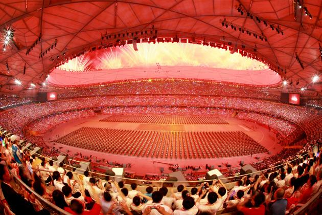 BEIJING - AUGUST 08:  A general view of drummers performing during the Opening Ceremony for the 2008 Beijing Summer Olympics at the National Stadium on August 8, 2008 in Beijing, China.  (Photo by Adam Pretty/Getty Images)