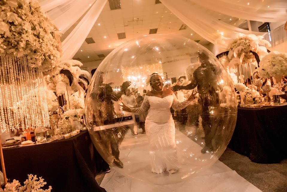 She's in her own little bubble. [Photo: Victor Samuel/Caters News]