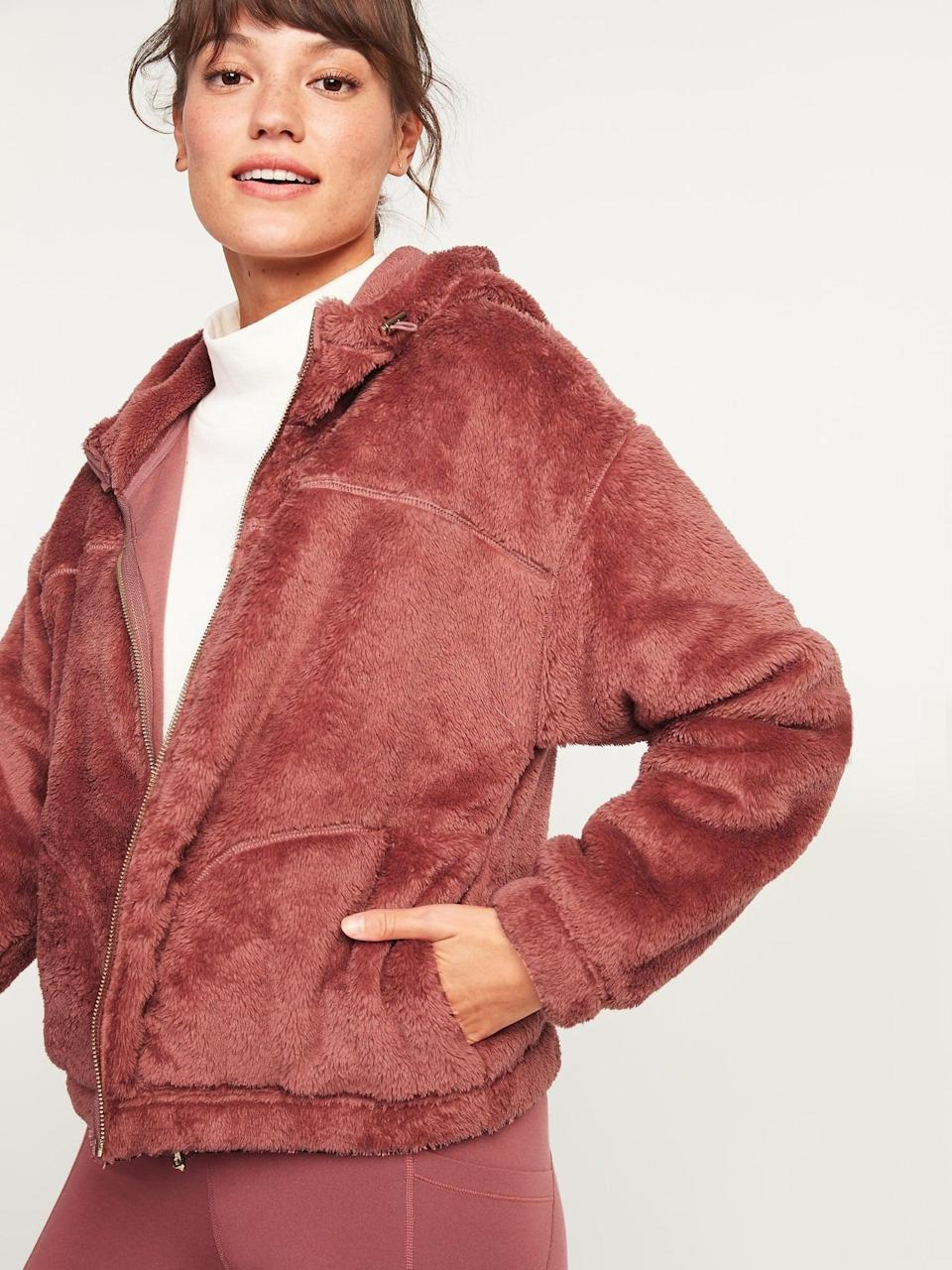 <p>This <span>Loose Cozy Sherpa Crop Hoodie</span> ($50) is ideal for morning runs or lounging around the house.</p>