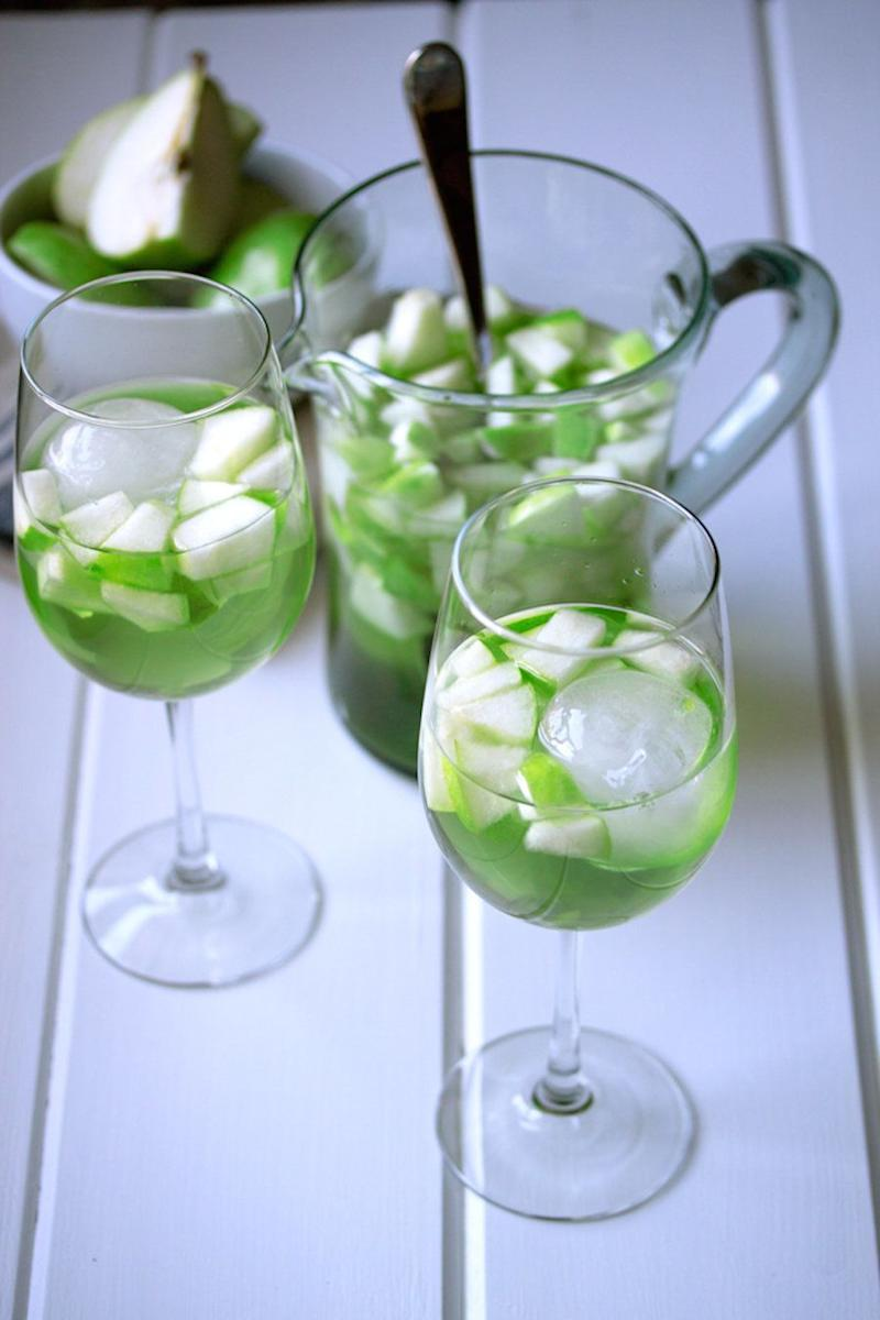 "<strong>Get the <a href=""http://cookswithcocktails.com/apple-and-pear-green-sangria/"" target=""_blank"">Apple And Pear Sangria recipe </a>from Cooks With Cocktails</strong>"