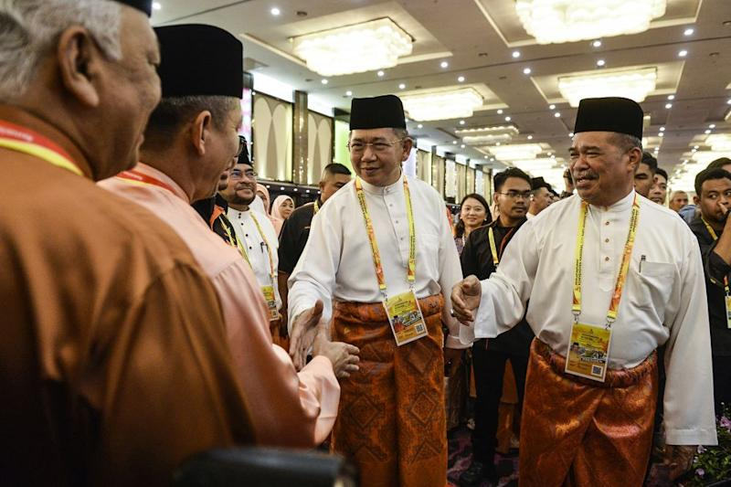 Amanah president Mohamad Sabu and Datuk Seri Salahuddin Ayub arrive for the Amanah National Convention in Shah Alam on December 6, 2019. ― Picture by Miera Zulyana