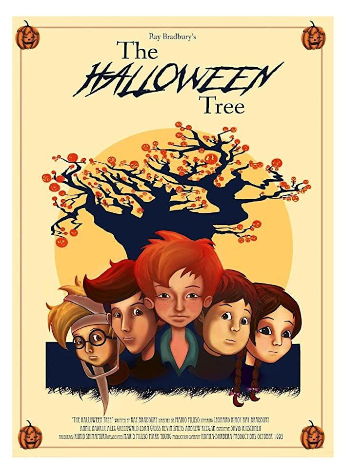 """<p>Based on <a href=""""https://www.amazon.com/Halloween-Tree-Ray-Bradbury/dp/0375803017/ref=sr_1_2?dchild=1&keywords=the+halloween+tree&qid=1624302182&sr=8-2&tag=syn-yahoo-20&ascsubtag=%5Bartid%7C2139.g.32998129%5Bsrc%7Cyahoo-us"""" rel=""""nofollow noopener"""" target=""""_blank"""" data-ylk=""""slk:Ray Bradbury's novel"""" class=""""link rapid-noclick-resp"""">Ray Bradbury's novel</a>, the made-for-TV film follows four children across culture and time as they quest to save the soul of their dying friend. It might be said Bradbury did for Halloween what Charles Dickens did for Christmas. We agree.</p><p><a class=""""link rapid-noclick-resp"""" href=""""https://www.amazon.com/Halloween-Tree-Ray-Bradbury/dp/B00FGI4M3M/ref=sr_1_1?dchild=1&keywords=The+Halloween+Tree&qid=1593548542&s=instant-video&sr=1-1&tag=syn-yahoo-20&ascsubtag=%5Bartid%7C2139.g.32998129%5Bsrc%7Cyahoo-us"""" rel=""""nofollow noopener"""" target=""""_blank"""" data-ylk=""""slk:WATCH HERE"""">WATCH HERE </a></p>"""