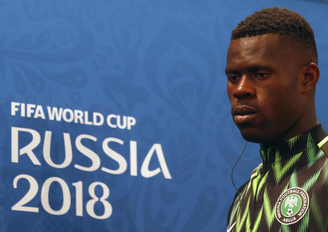 Nigeria goalkeeper Francis Uzoho arrives for a press conference on the eve of the group D match between Nigeria and Iceland at the 2018 soccer World Cup in the Volgograd Arena, in Volgograd, Russia, Thursday, June 21, 2018. (AP Photo/Darko Vojinovic)