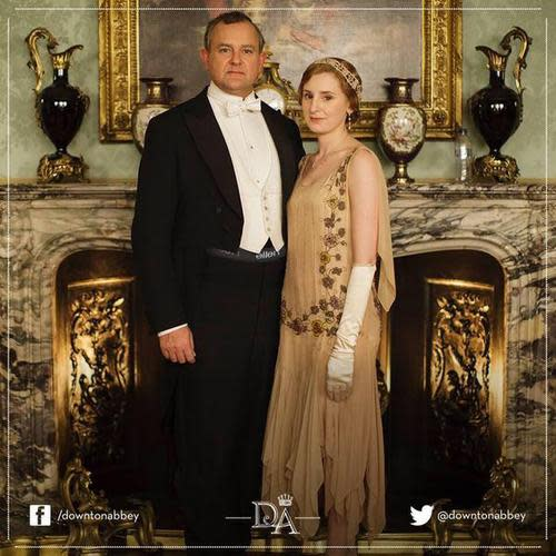 Downton Abbey promotional photo with underwear band showing