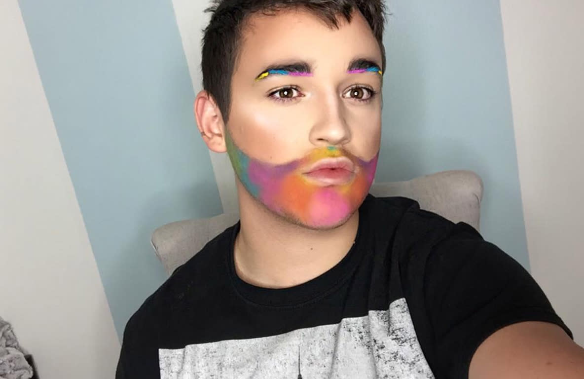 "<p></p><p><span>Payton Johnsone slays his Pride Month makeup with a pastel beard and bold eyebrows. (Photo: </span><a rel=""nofollow"" href=""https://www.instagram.com/p/BVSP7pKBH8x/"">paytonjohnsone/Instagram</a>) </p><p></p>"