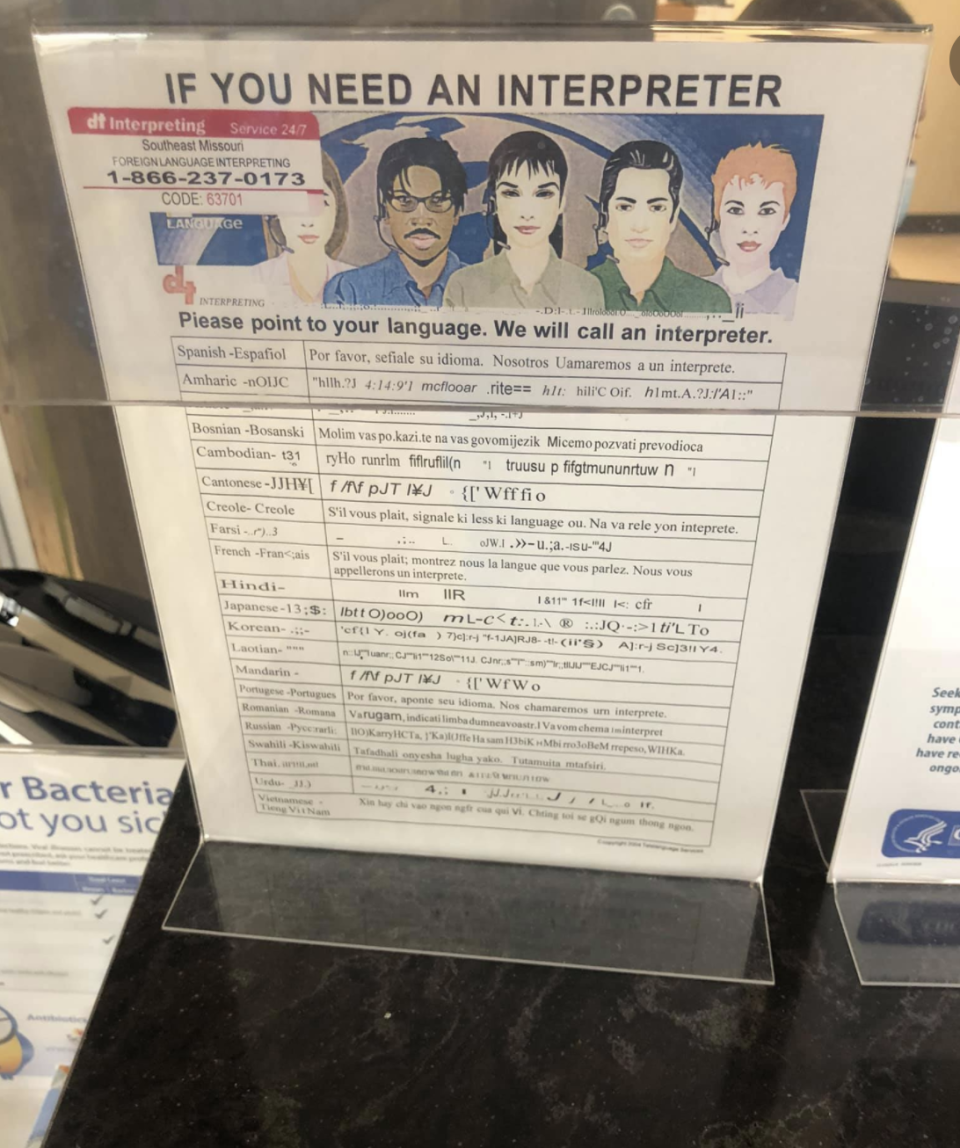 Picture of the interpreter poster shared online.