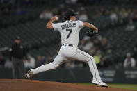 Seattle Mariners starting pitcher Marco Gonzales throws against the Minnesota Twins during the first inning of a baseball game, Monday, June 14, 2021, in Seattle. (AP Photo/Ted S. Warren)