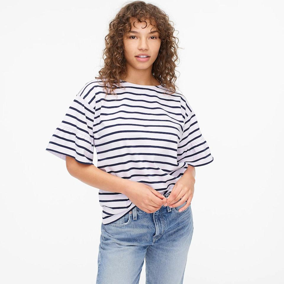<p>The ruffles at the sleeve of this <span>Mariner Cloth T-shirt </span> ($54, originally $60 (plus extra 60% off with code SALETIME) make it a step above the rest. It's made from a lightweight and durable cotton fabric, so you know you can confidently beat the heat in it.</p>