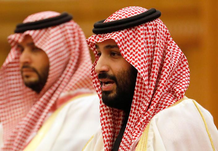 Saudi Crown Prince Mohammad bin Salman, right, speaks to Chinese President Xi Jinping during a meeting at the Great Hall of the People in Beijing, Feb. 22, 2019. Prince Mohammad is in China as part of a tour of Asian countries. (Photo: How Hwee Young/Pool Photo via AP)