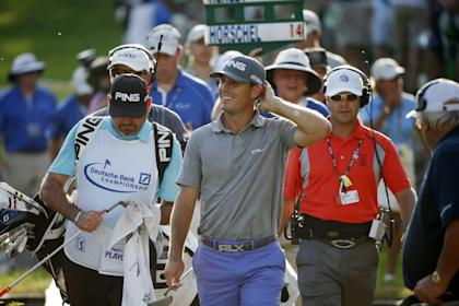 Billy Horschel could only laugh at himself after his bad second shot on No. 18. (AP)