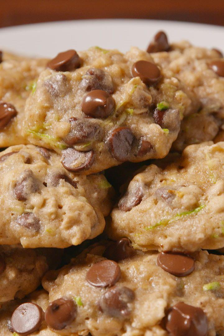 """<p>Sneak a little veggie into your all-cookie diet.</p><p>Get the <a href=""""https://www.delish.com/uk/cooking/recipes/a28961505/zucchini-chocolate-chip-cookies-recipe/"""" rel=""""nofollow noopener"""" target=""""_blank"""" data-ylk=""""slk:Courgette Chocolate Chip Cookies"""" class=""""link rapid-noclick-resp"""">Courgette Chocolate Chip Cookies</a> recipe.</p>"""