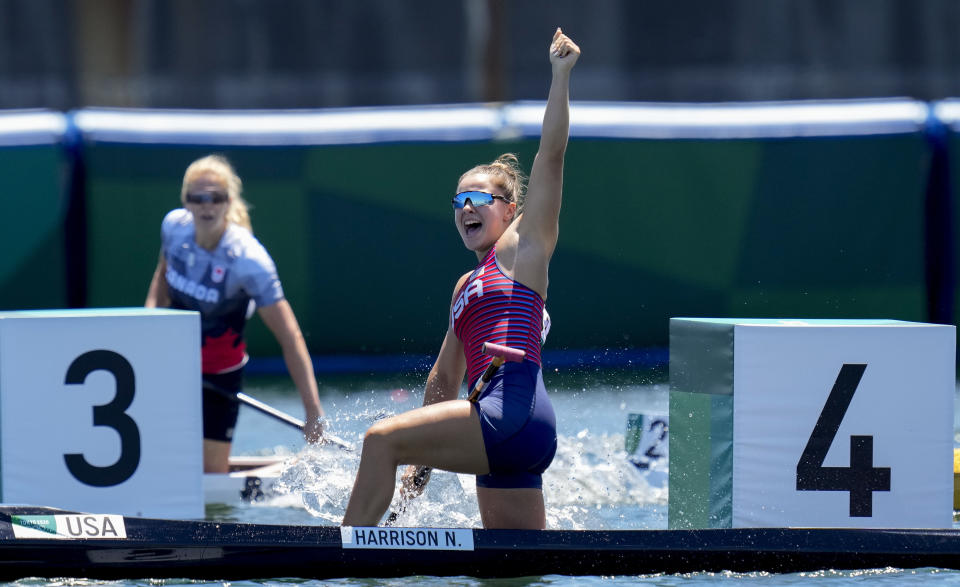 Nevin Harrison, of the United States, reacts after winning the gold medal in the women's canoe single 200m final at the 2020 Summer Olympics, Thursday, Aug. 5, 2021, in Tokyo, Japan. (AP Photo/Kirsty Wigglesworth)