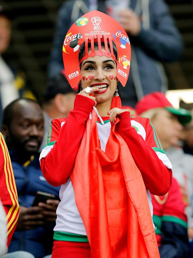 <p>Fans of Morocco during the World Cup match between Spain v Morocco at the Kaliningrad Stadium on June 25, 2018 in Kaliningrad Russia (Photo by Peter Lous/Soccrates/Getty Images) </p>
