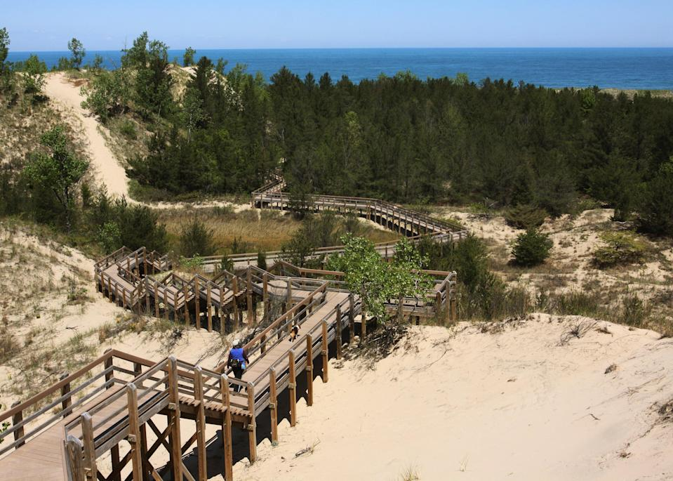 """<p><strong>Best camping in Indiana:</strong> Dunewood Campground, Indiana Dunes National Park</p> <p>The pristine sapphire water, long stretches of beach, and sunny summer afternoons make Indiana Dunes feel more like a tropical escape than a park on the southern tip of <a href=""""https://www.cntraveler.com/story/road-trip-3-days-in-northern-michigan?mbid=synd_yahoo_rss"""" rel=""""nofollow noopener"""" target=""""_blank"""" data-ylk=""""slk:Lake Michigan"""" class=""""link rapid-noclick-resp"""">Lake Michigan</a>. Even better, Dunewood offers city comforts like flush toilets and showers, mere minutes away from lakeside fun and sandy sunset views. </p>"""