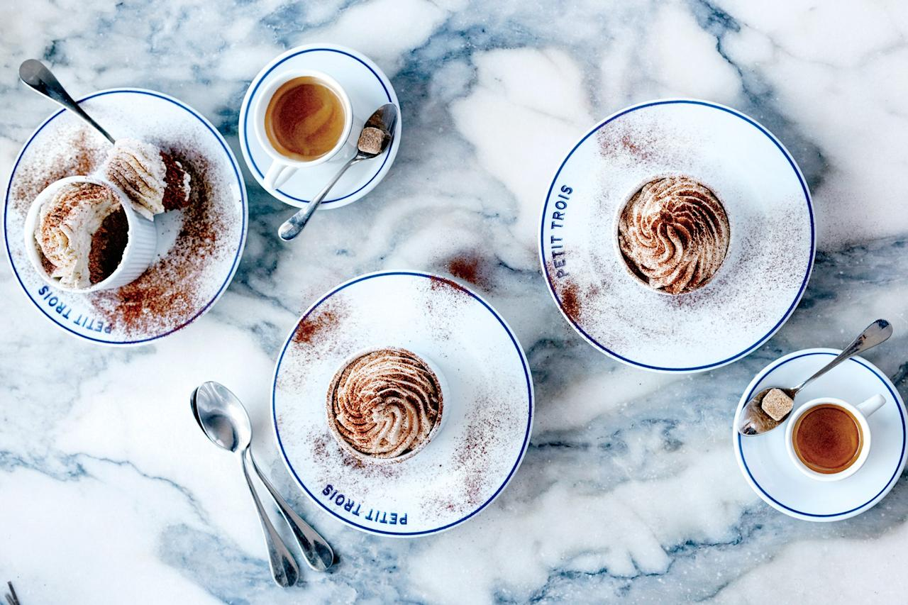 """Chocolate mousse <em>never</em> goes out of style. To make this chocolate mousse, you'll need semisweet chocolate, unsalted butter, sugar, eggs, heavy cream, and unsweetened cocoa powder. <a href=""""https://www.epicurious.com/recipes/food/views/dark-chocolate-mousse-56389988?mbid=synd_yahoo_rss"""">See recipe.</a>"""