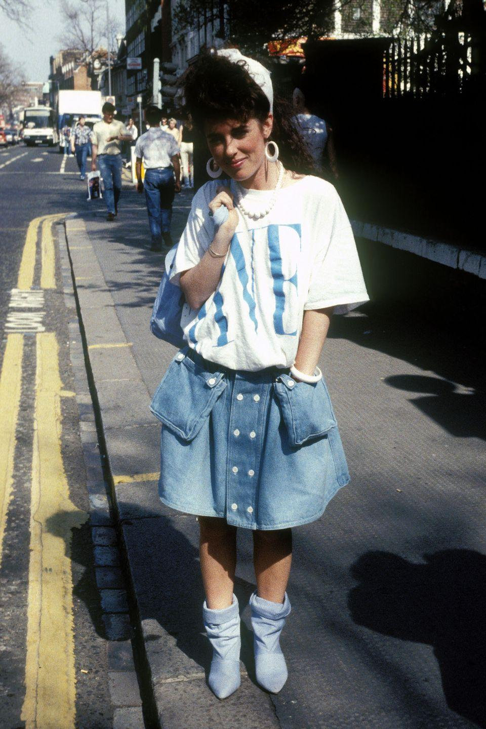 <p>A denim street style look on King's Road in London. </p>