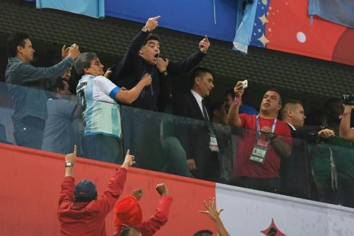 Diego Maradona celebrated wildly when Argentina scored the winner and later needed to be treated by paramedics